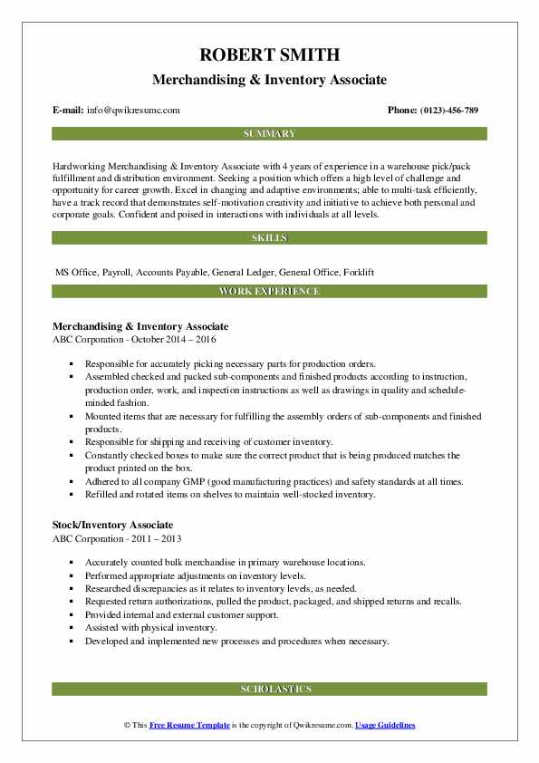 Merchandising & Inventory Associate Resume Template