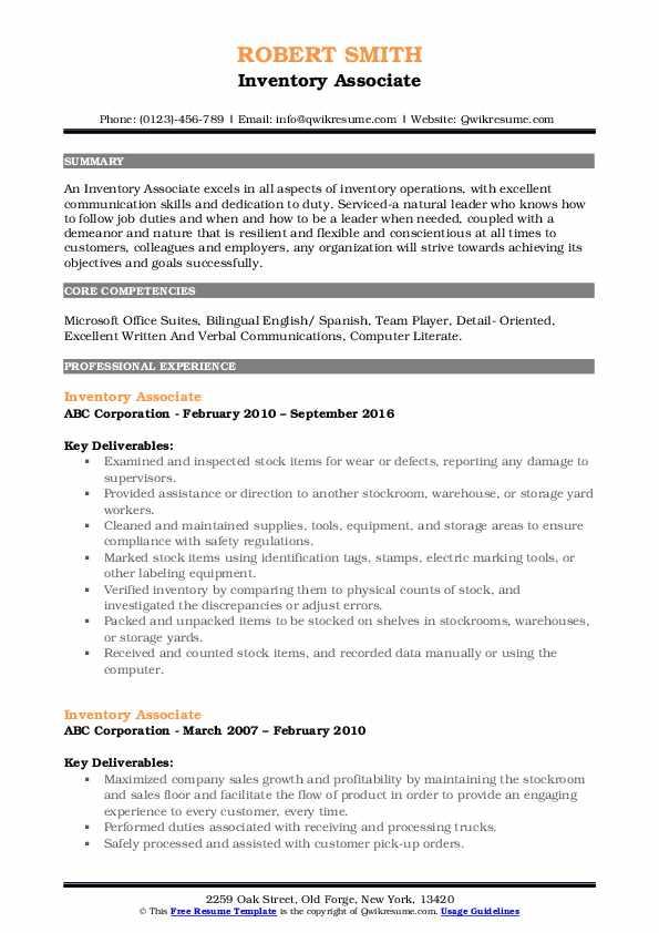 Inventory Associate Resume Sample