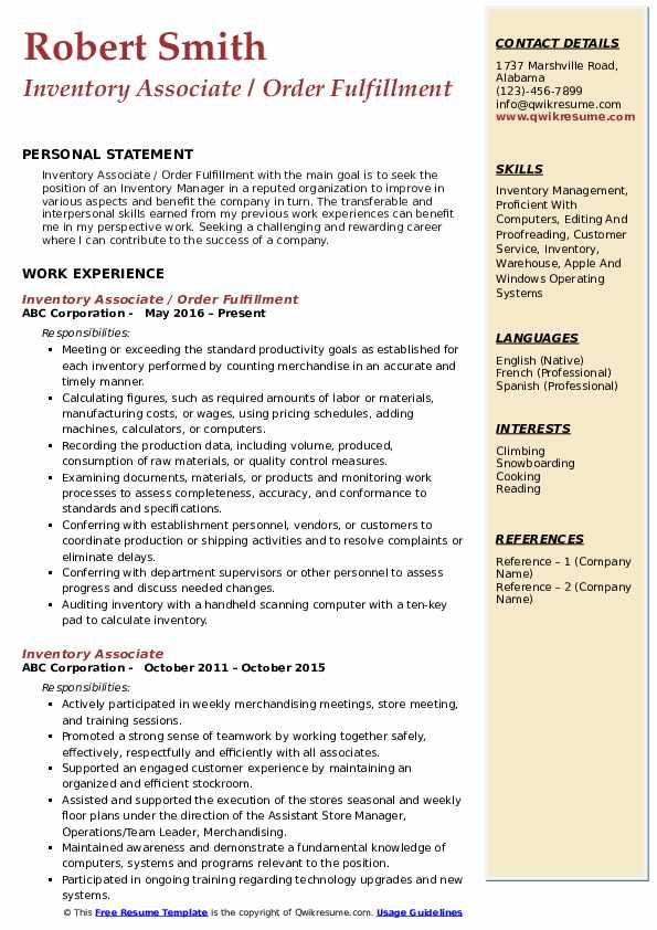 Inventory Associate / Order Fulfillment Resume Format