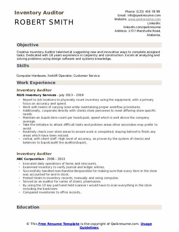 Inventory Auditor Resume Example
