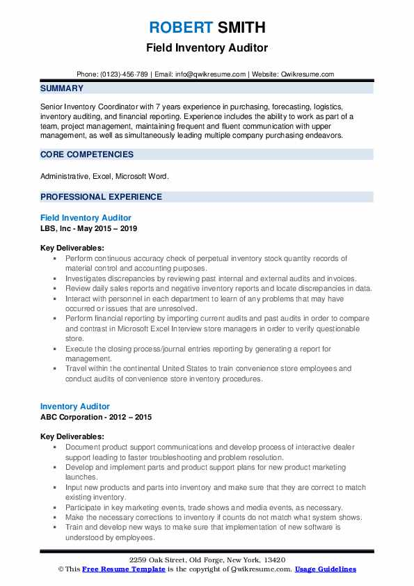 Field Inventory Auditor Resume Template