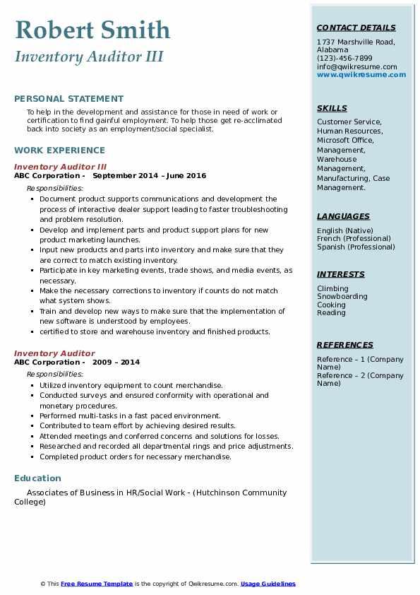 Inventory Auditor III Resume Template