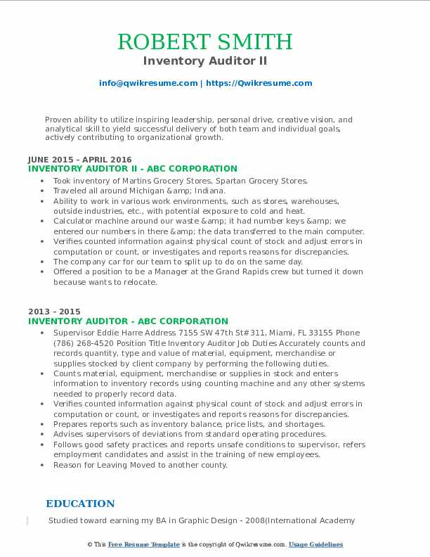 Inventory Auditor II Resume Template