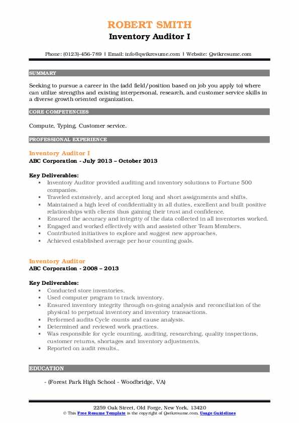 Inventory Auditor I Resume Example