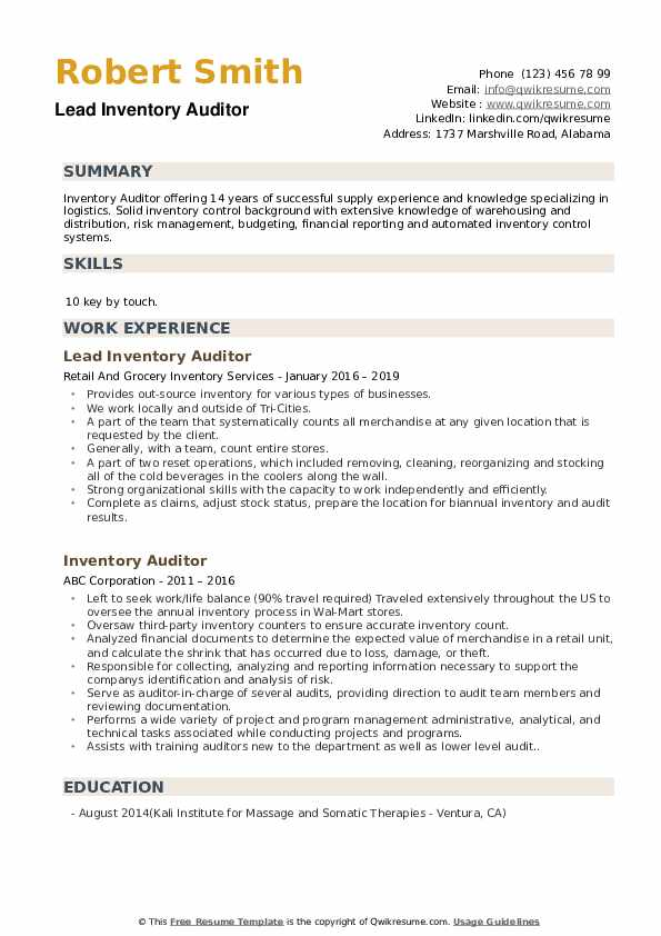 Lead Inventory Auditor Resume Sample