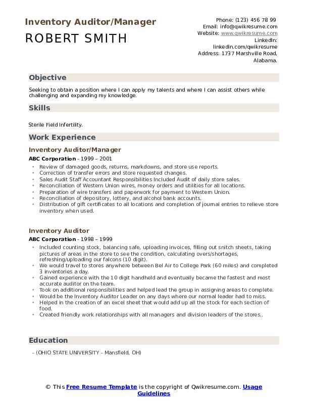 Inventory Auditor/Manager Resume Format