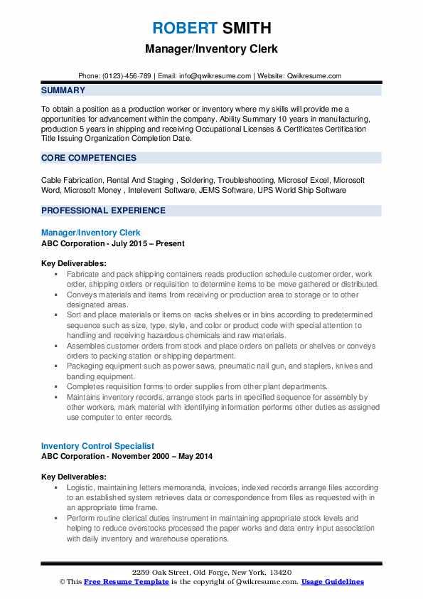 Manager/Inventory Clerk Resume Format