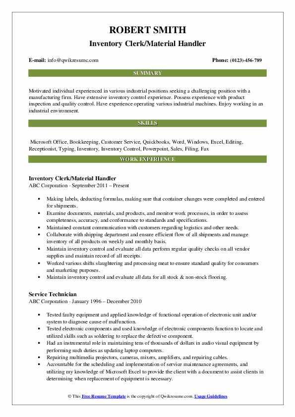 Inventory Clerk/Material Handler Resume Example