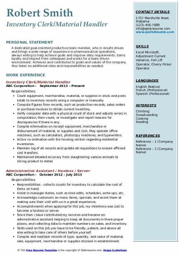 Inventory Clerk/Material Handler Resume Model