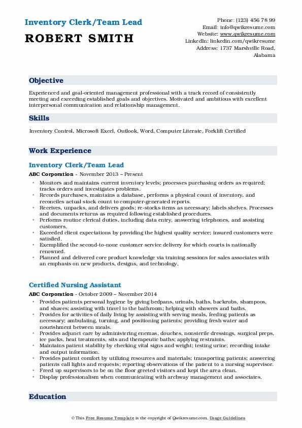 Inventory Clerk/Team Lead Resume Model