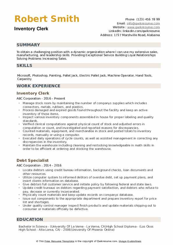 Inventory Clerk Resume example