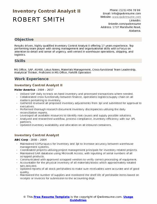 Inventory Control Analyst II Resume Example