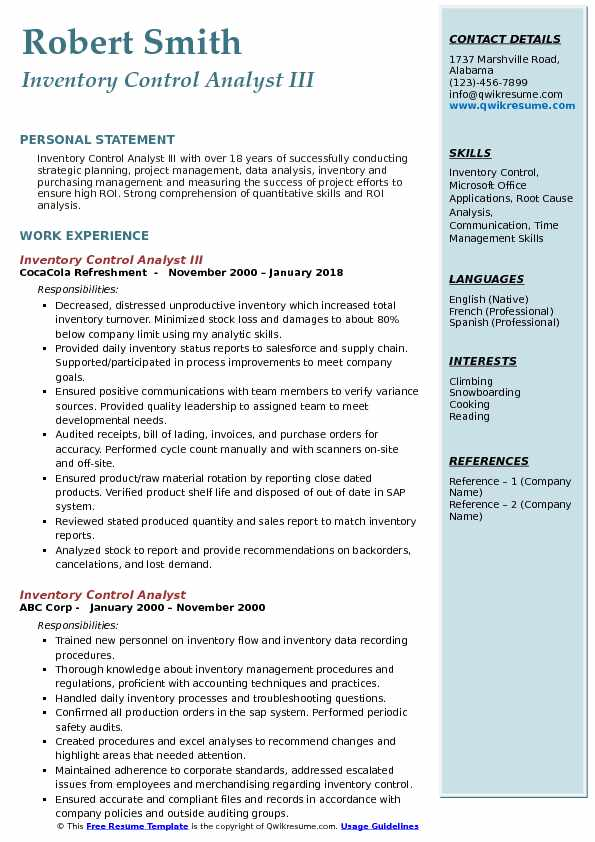 Inventory Control Analyst III Resume Template