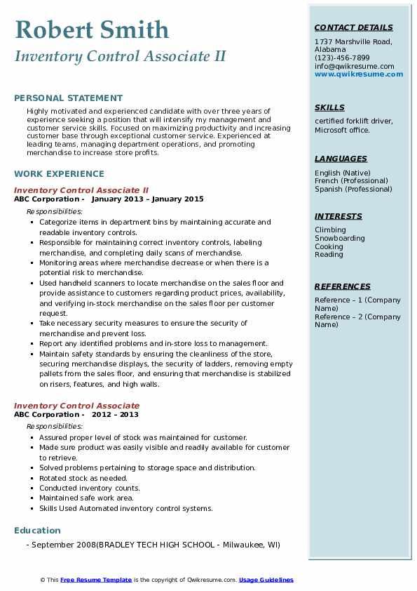 inventory control associate resume samples  qwikresume