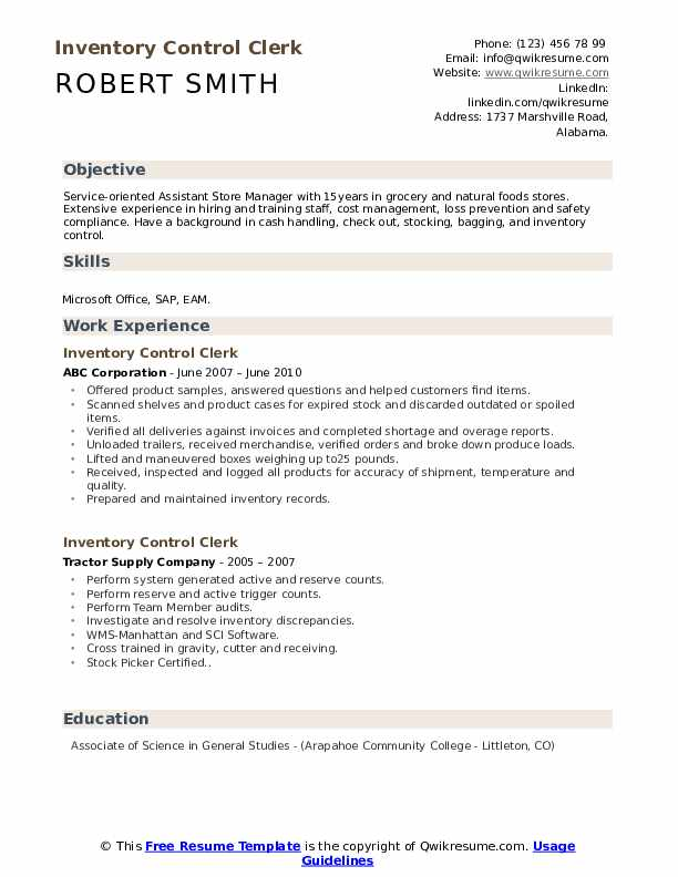 Inventory Control Clerk Resume Template