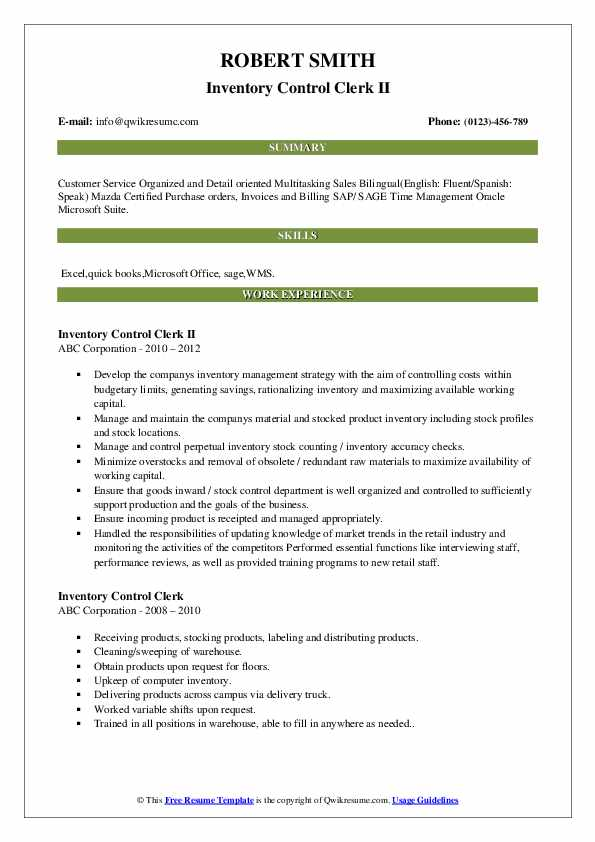 Inventory Control Clerk II Resume Template