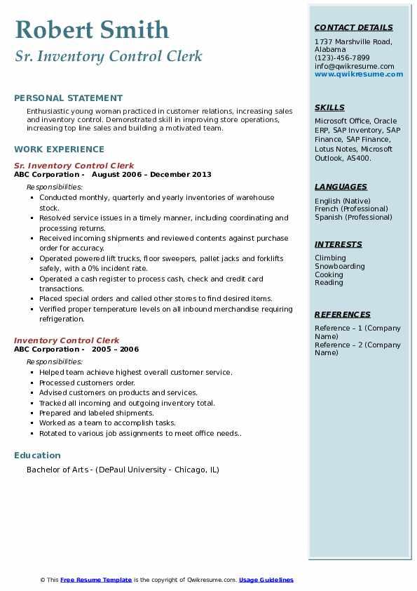 Sr. Inventory Control Clerk Resume Example