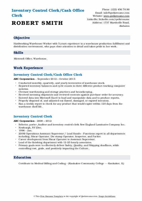 Inventory Control Clerk/Cash Office Clerk Resume Model