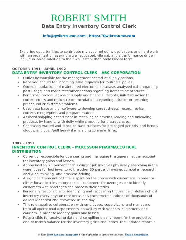 Data Entry Inventory Control Clerk Resume Format