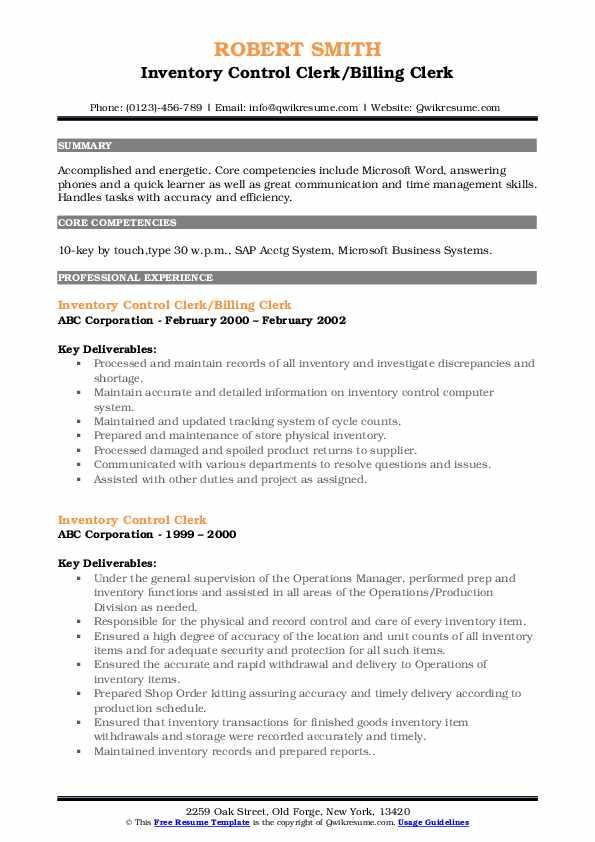 Inventory Control Clerk/Billing Clerk Resume Sample