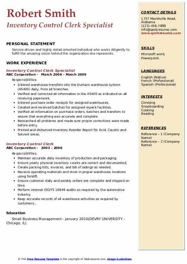 Inventory Control Clerk Specialist Resume Sample