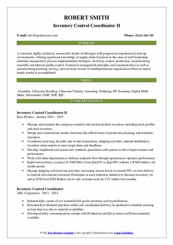 Inventory Control Coordinator Resume Samples Qwikresume