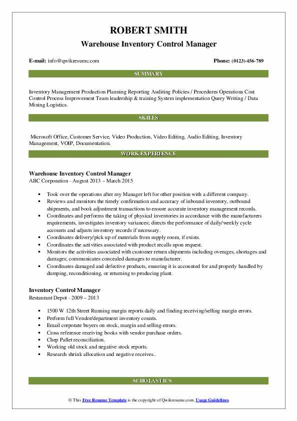 Warehouse Inventory Control Manager Resume Example