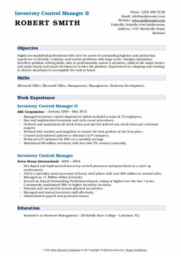 Inventory Control Manager II Resume Model