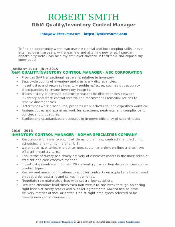 R&M Quality/Inventory Control Manager Resume Model