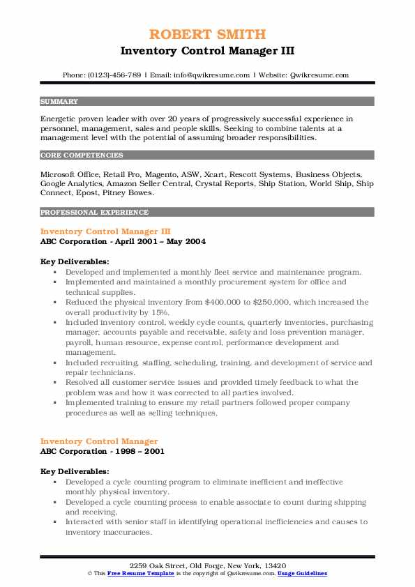 Inventory Control Manager III Resume Sample