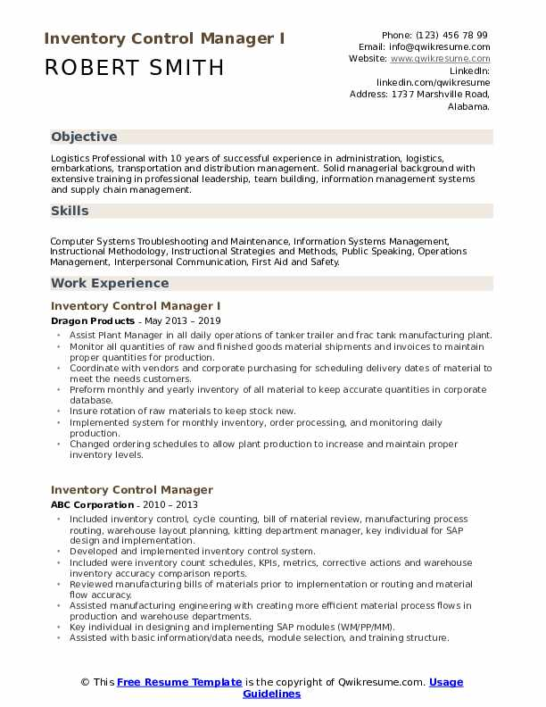 Inventory Control Manager I Resume Sample