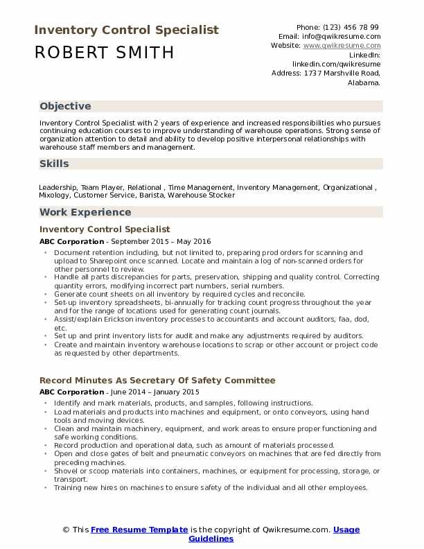 Inventory Control Specialist Resume Samples | QwikResume
