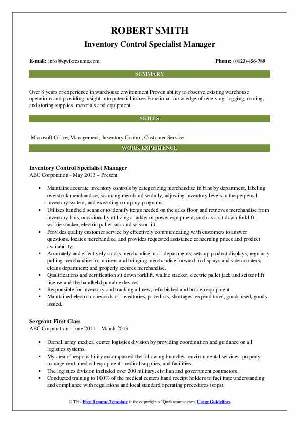 Inventory Control Specialist Manager Resume Model