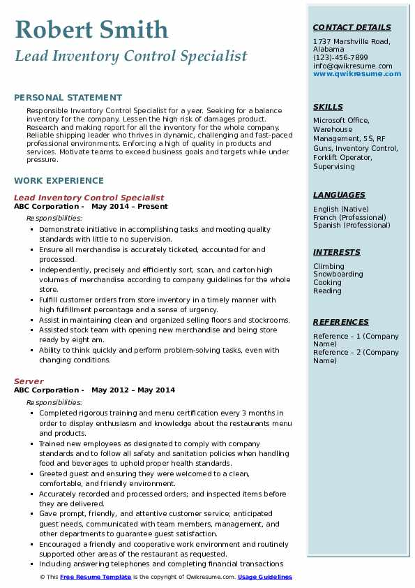 Lead Inventory Control Specialist Resume Model
