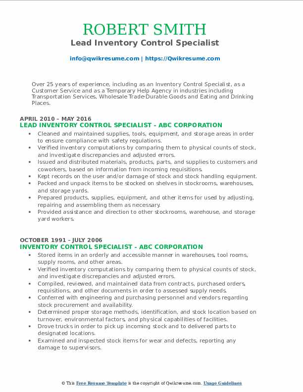 Lead Inventory Control Specialist Resume Template