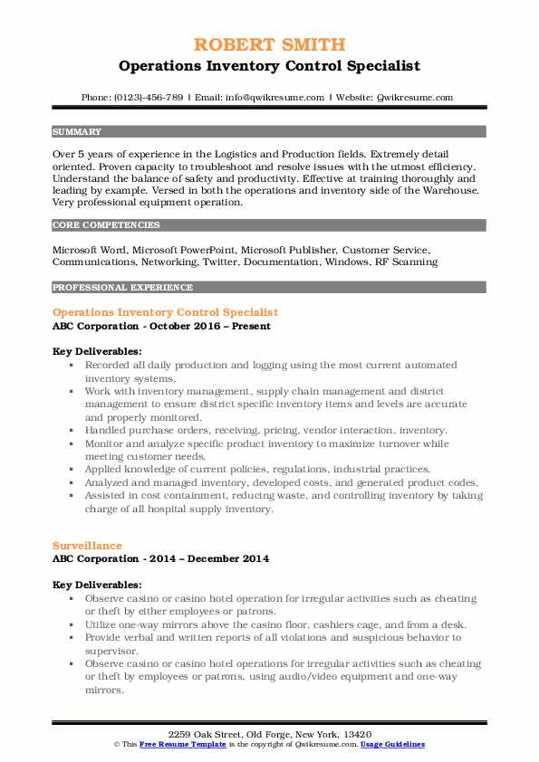 Operations Inventory Control Specialist Resume Format