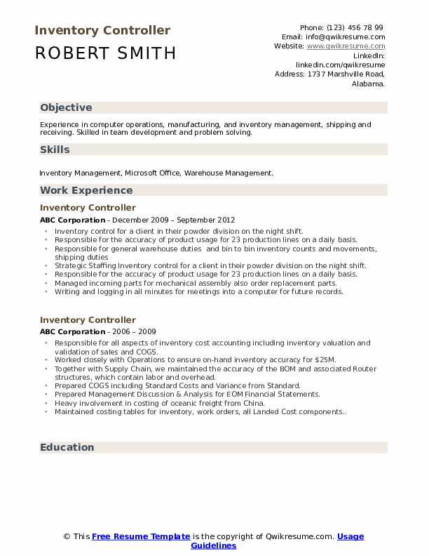 Inventory Controller Resume Template