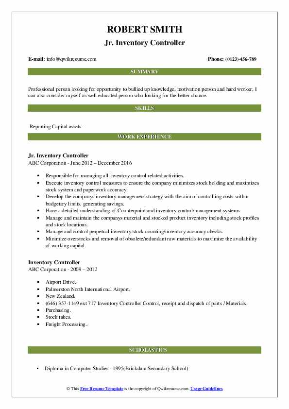 Jr. Inventory Controller Resume Template