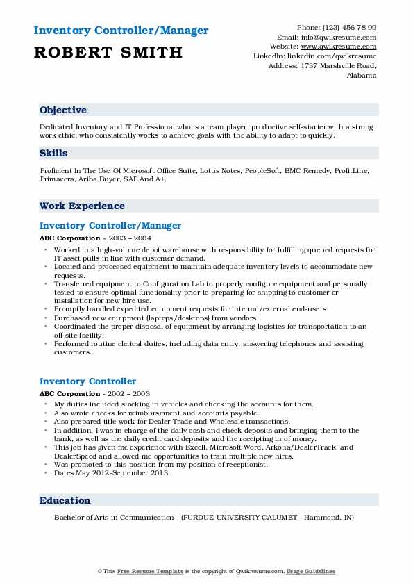 Inventory Controller/Manager Resume Format