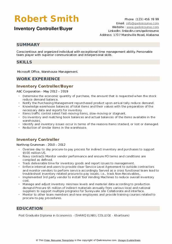 Inventory Controller/Buyer Resume Example