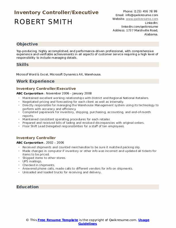 Inventory Controller/Executive Resume Sample