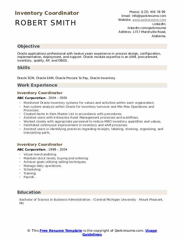 Inventory Coordinator Resume Sample