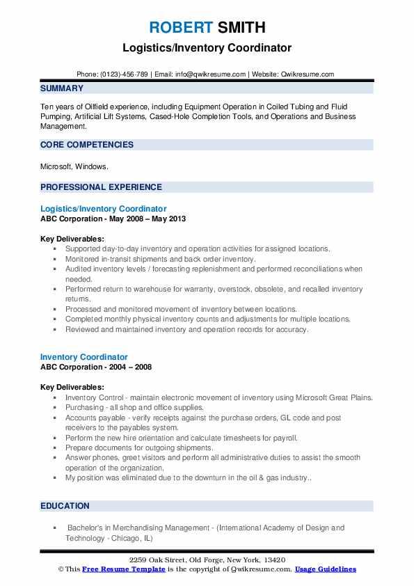 Logistics/Inventory Coordinator Resume Sample