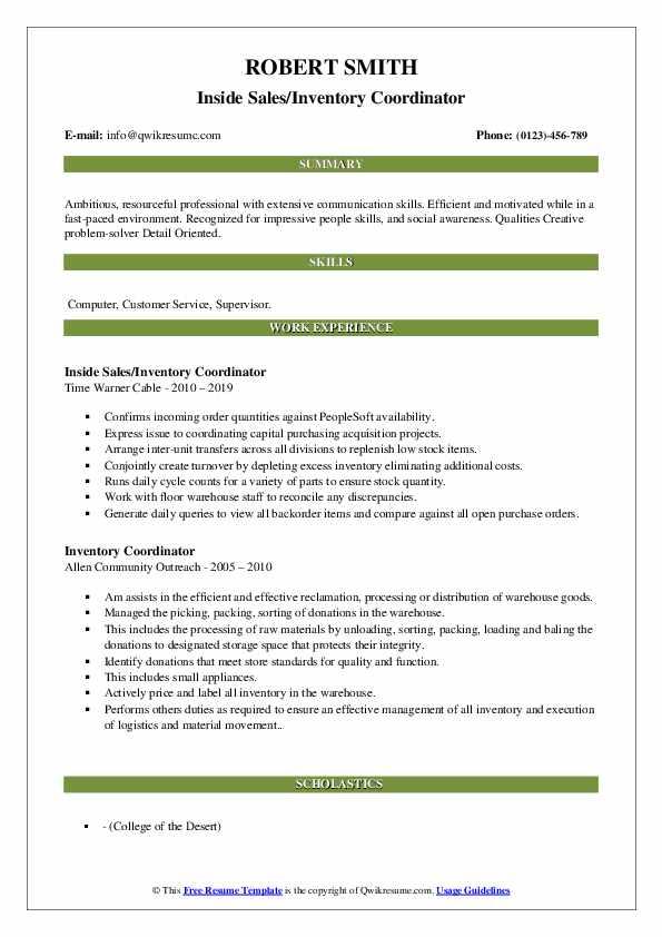 Inside Sales/Inventory Coordinator Resume Format