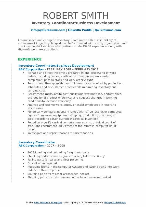 Inventory Coordinator/Business Development Resume Model