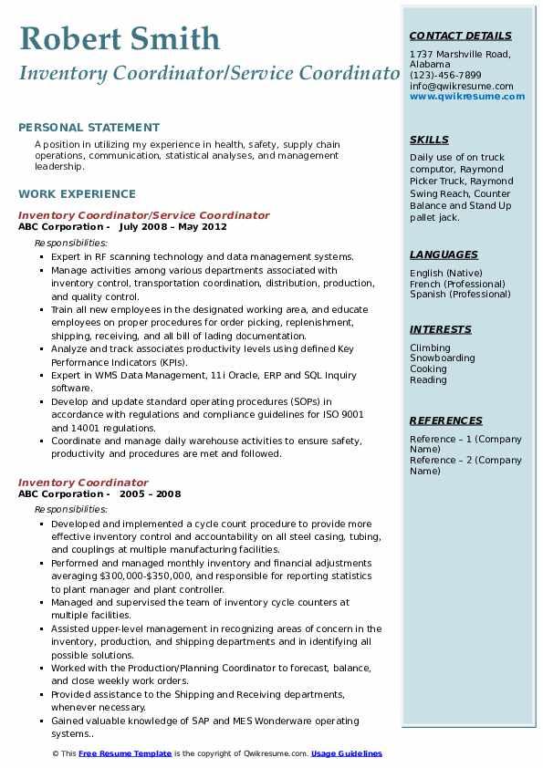 Inventory Coordinator/Service Coordinator Resume Sample