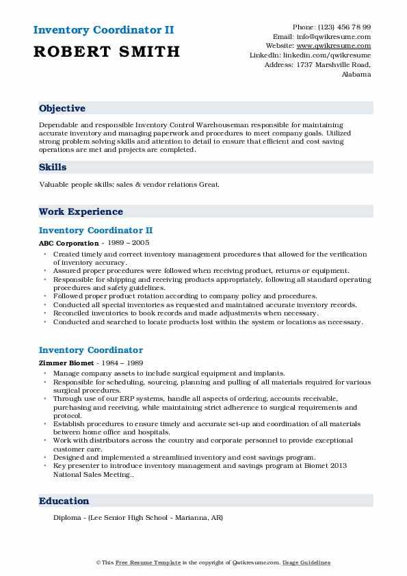 Inventory Coordinator II Resume Example