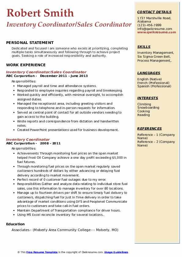 Inventory Coordinator/Sales Coordinator Resume Example
