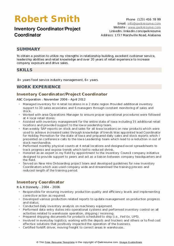 Inventory Coordinator/Project Coordinator Resume Sample