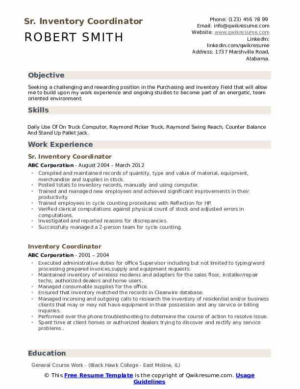 Sr. Inventory Coordinator Resume Model